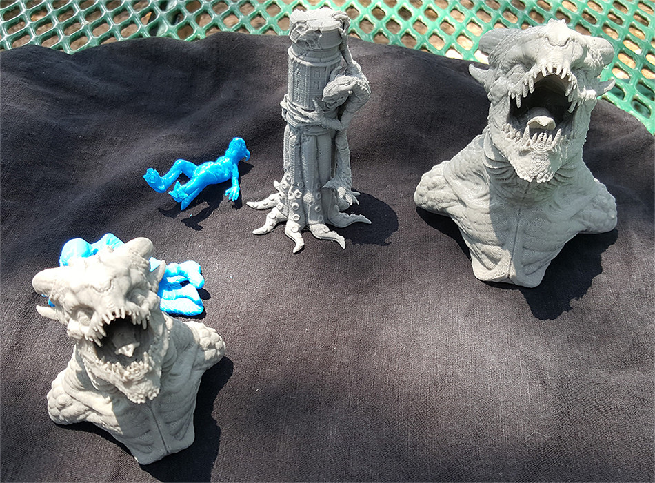 Luiz Kruel was cool enough to print out my characters on his Makerbot; here's some other prints he's done on it for me