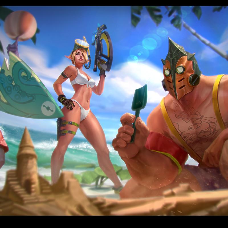 Vainglory: Summer Splash and Baron hero splash
