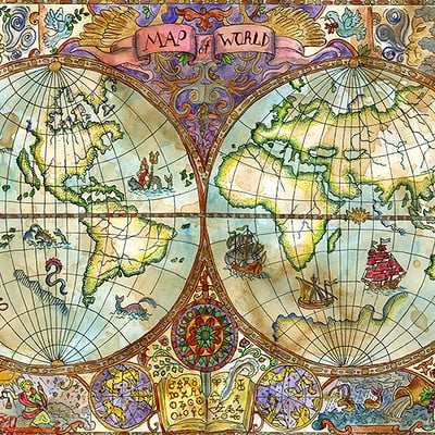 Vera petruk samiramay 05 vintage illustration with world atlas map on old paper