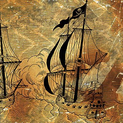 Vera petruk samiramay 12 graphic illustration of vintage ships battle on old paper
