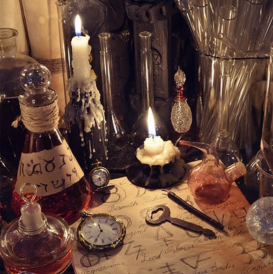 Vera petruk samiramay 09 still life with vintage bottles magic objects and paper with alchemy signs
