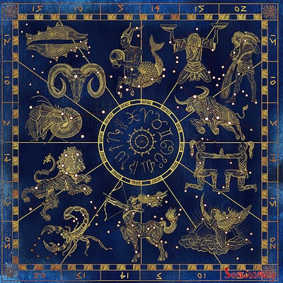 Vera petruk samiramay collage set with golden zodiac symbols and red constellations on blue textured background