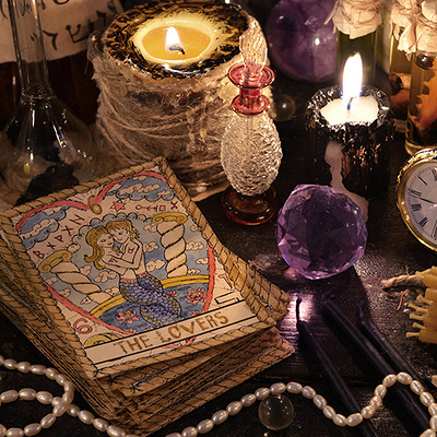 Vera petruk samiramay 16 the tarot cards with crystal candles and magic objects