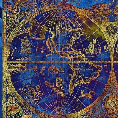 Vera petruk samiramay 04 vintage illustration with blue world atlas map on textured background2