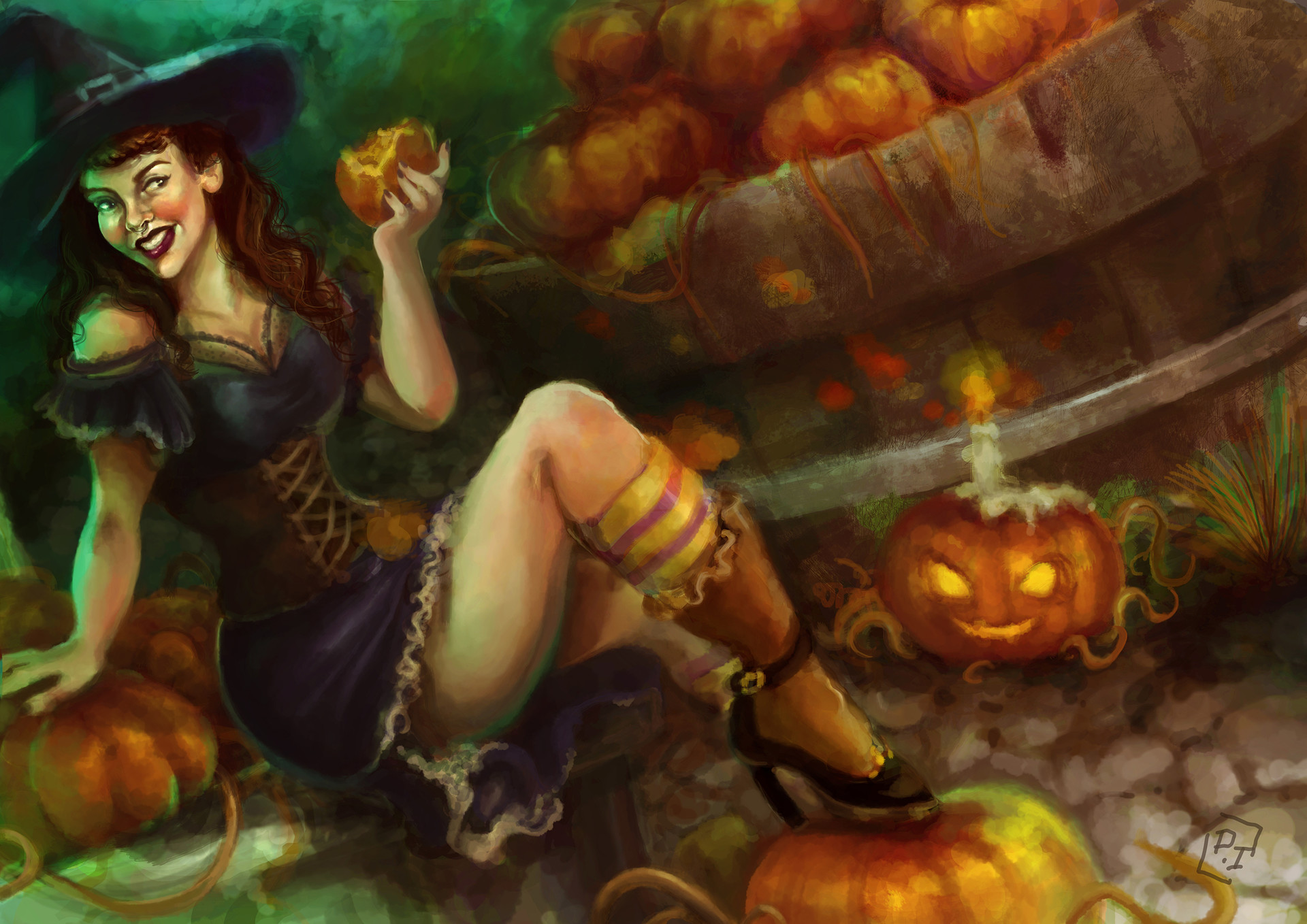 paula isabelle - halloween pin-up witch