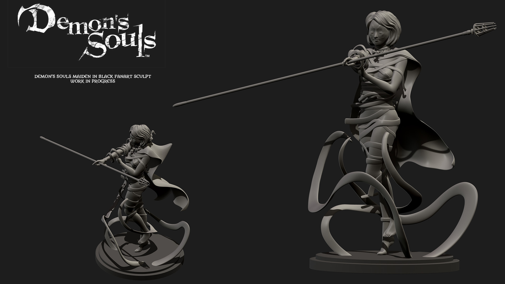 artstation - demon's souls maiden in black fan-art sculpt, michael