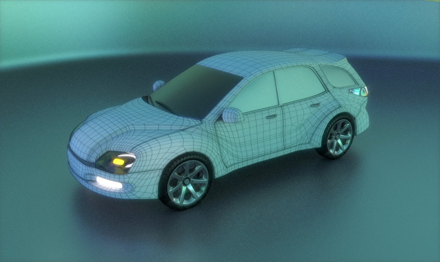 A wireframe render.