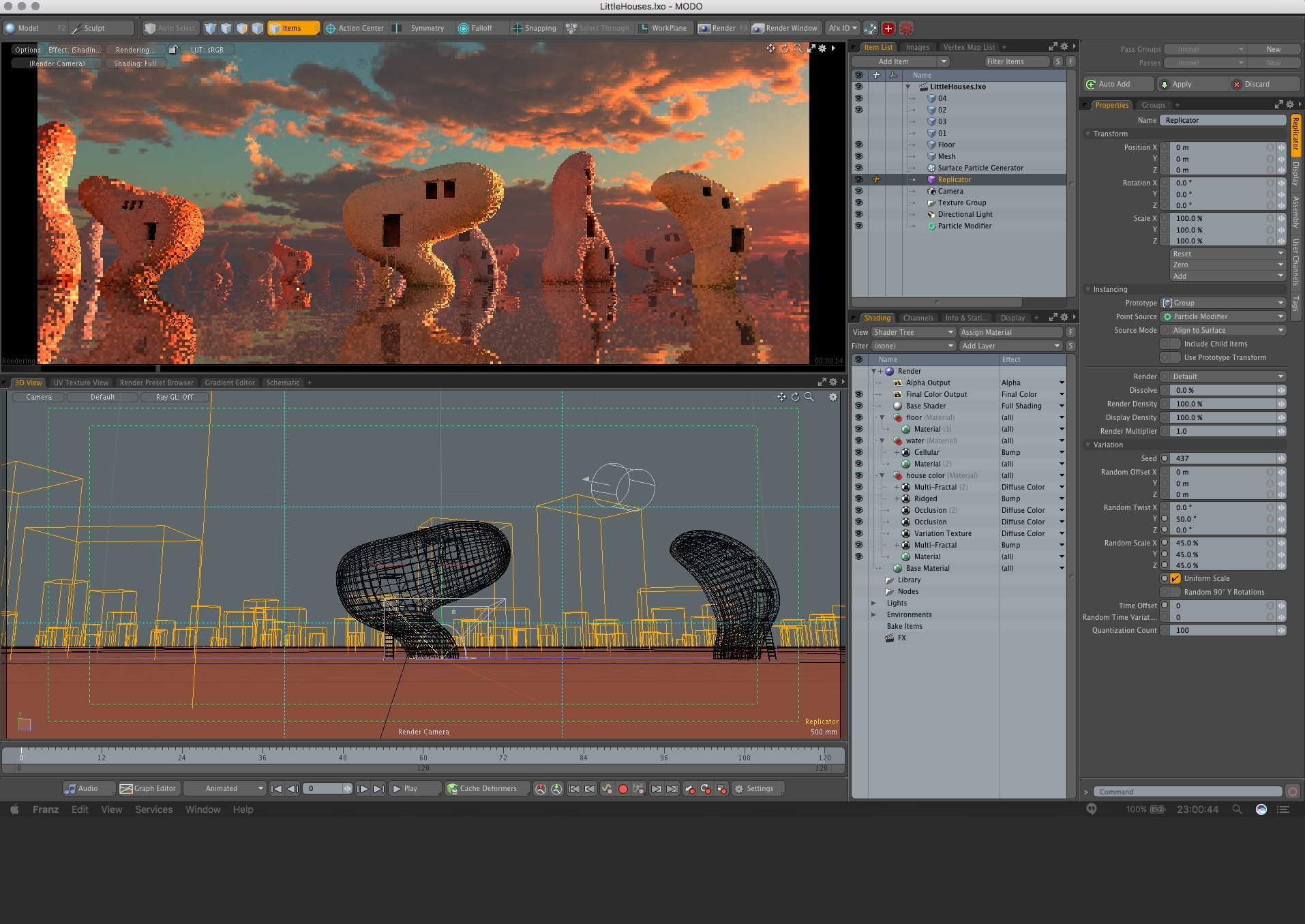 Render view. Composing the shot, lighting, giving it the looks.