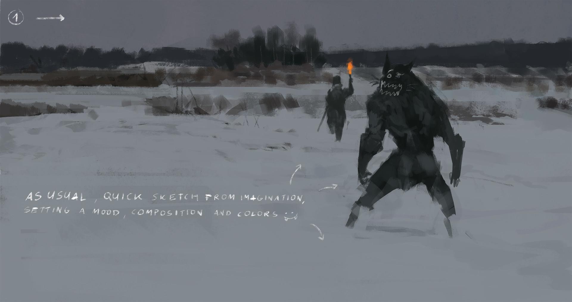 Jakub rozalski wolfpack hunt01 14112016 process01
