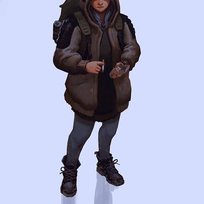 Edward delandre girl witha coat and cigaretts artstation