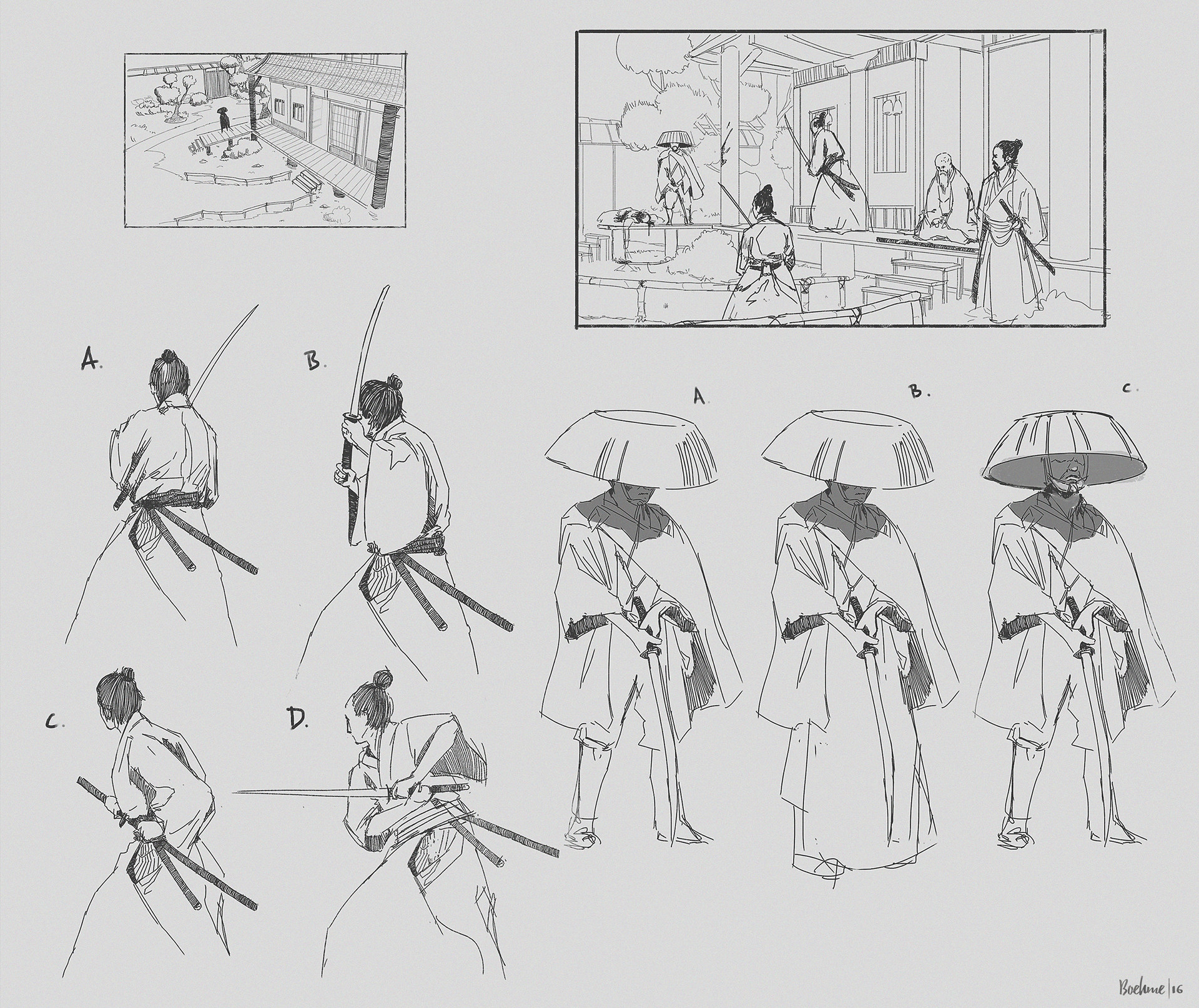 Composition and pose sketches