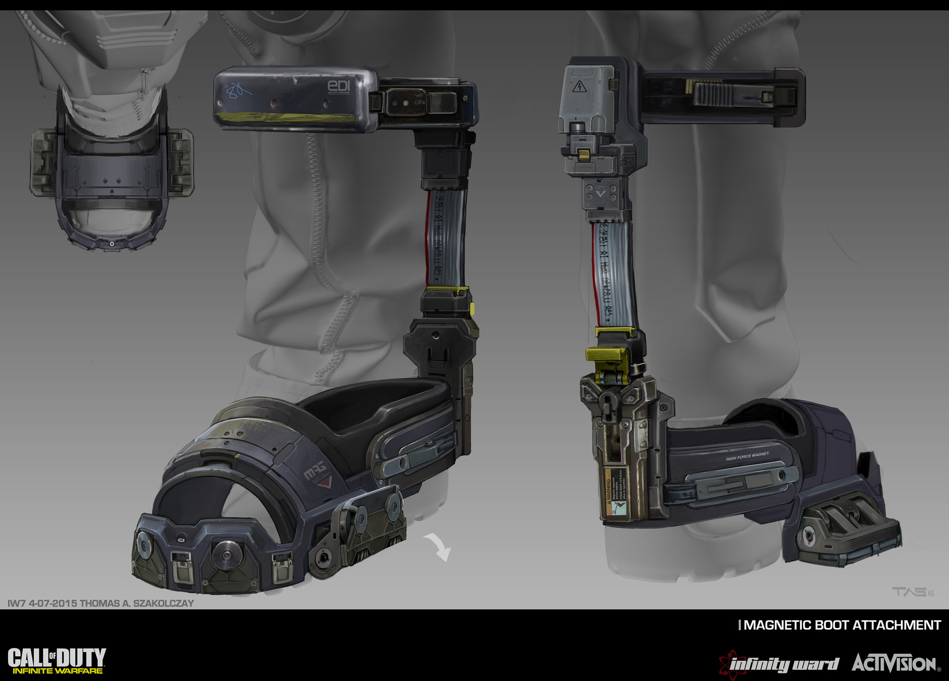 Magnetic Boots:  This is an older design that evolved into a much more simplified version. The original brief called for boot attachments that had an obvious analogue mechanism to indicate magnetism was activated for game design reasons.