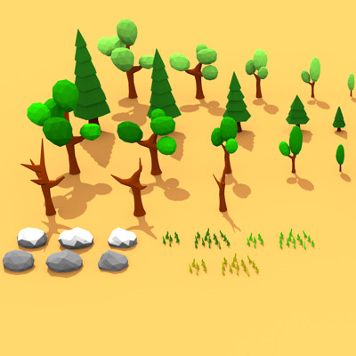 Dima shingarev low poly forest game asset