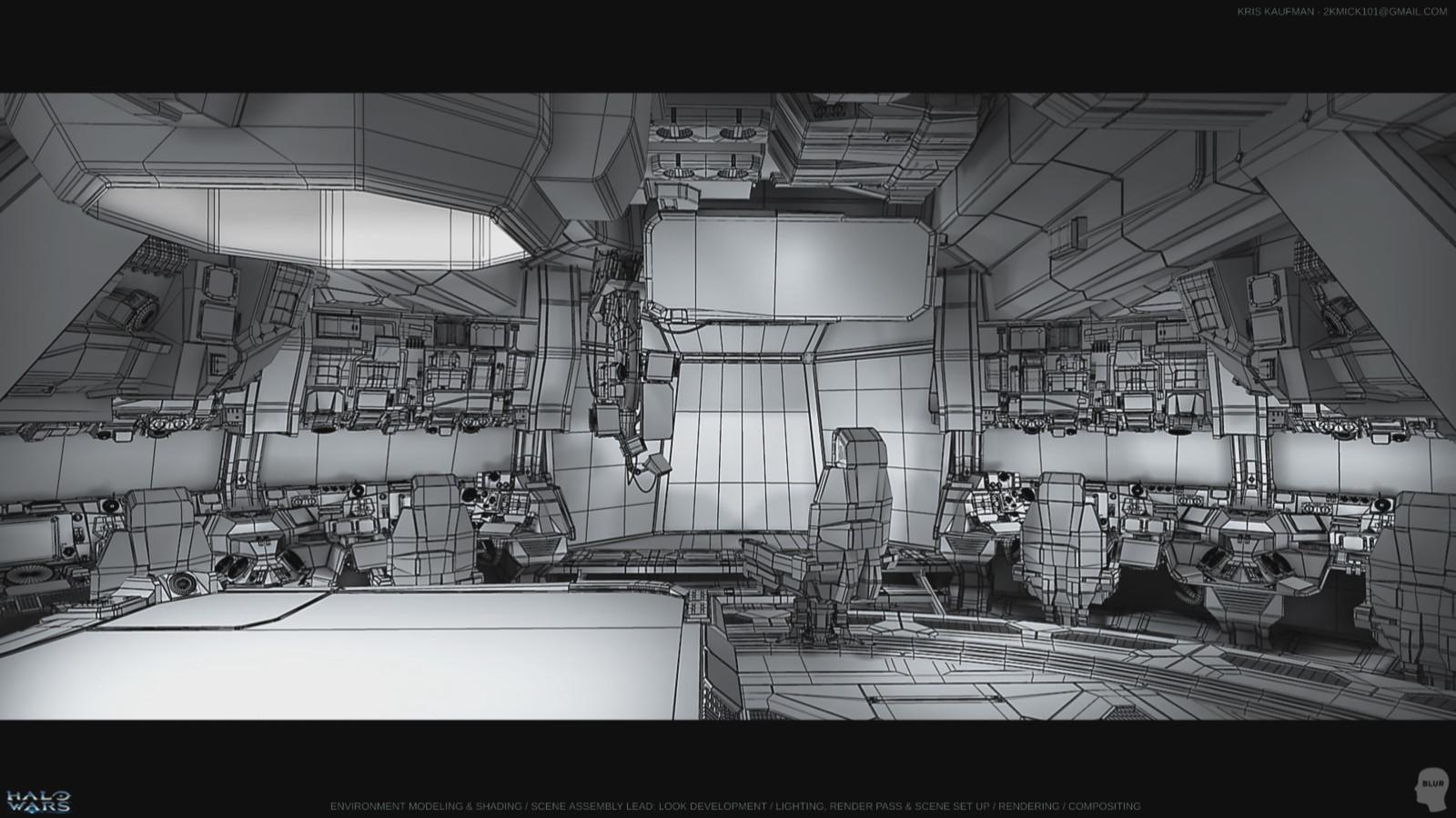 Halo Wars: Wireframe of Bridge Environment