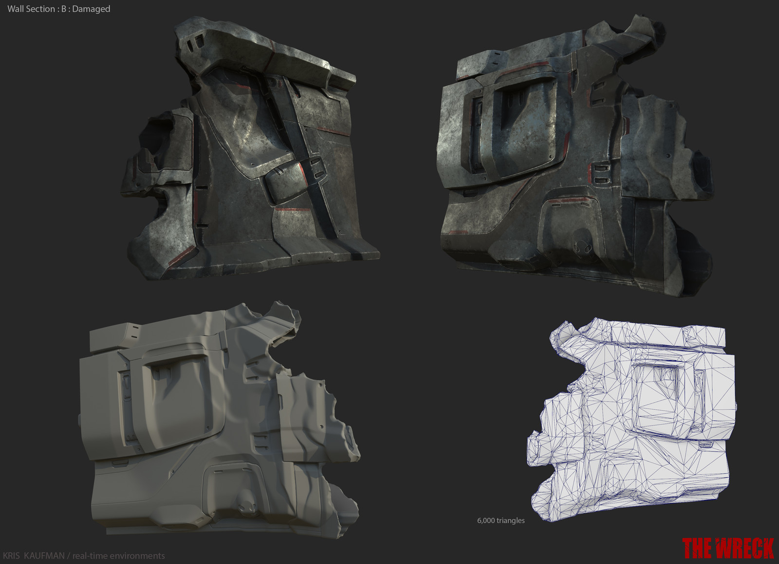 Zbrush model, Substance Painter textures, and in game asset poly count