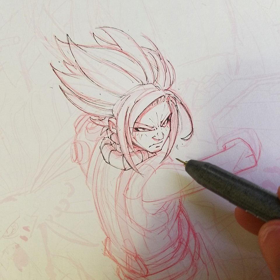 WIP 03 - Starting to draw Cloud using Red Mechanical Lead and Copic Multi Liners.