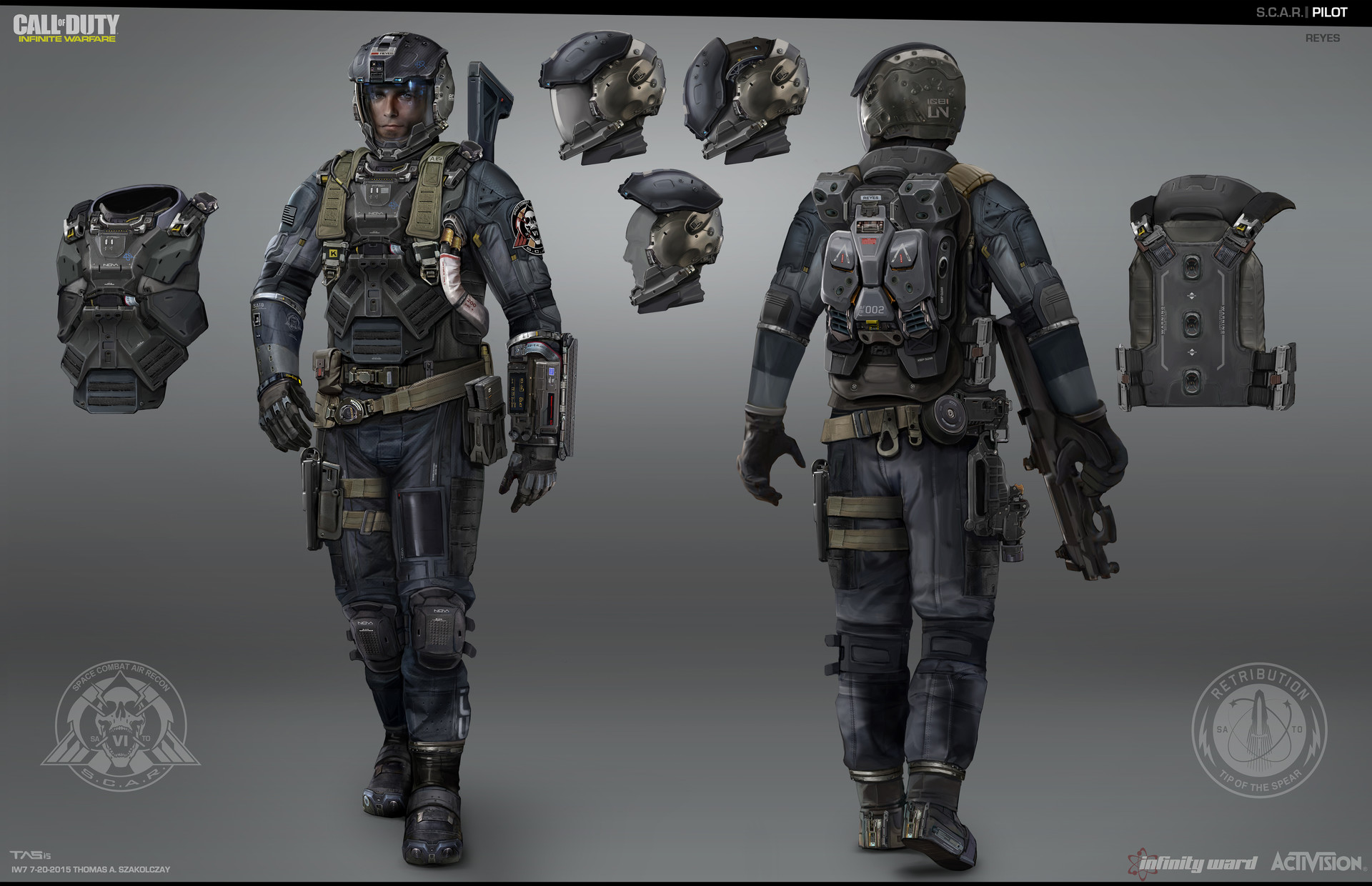 """Final SCAR Pilot Design: This is the model sheet i passed off to the character modelers. The Design was intended to express a combination of pilot and spec-ops soldier that can operate in the vacuum of space to """"boots on the ground"""" combat."""