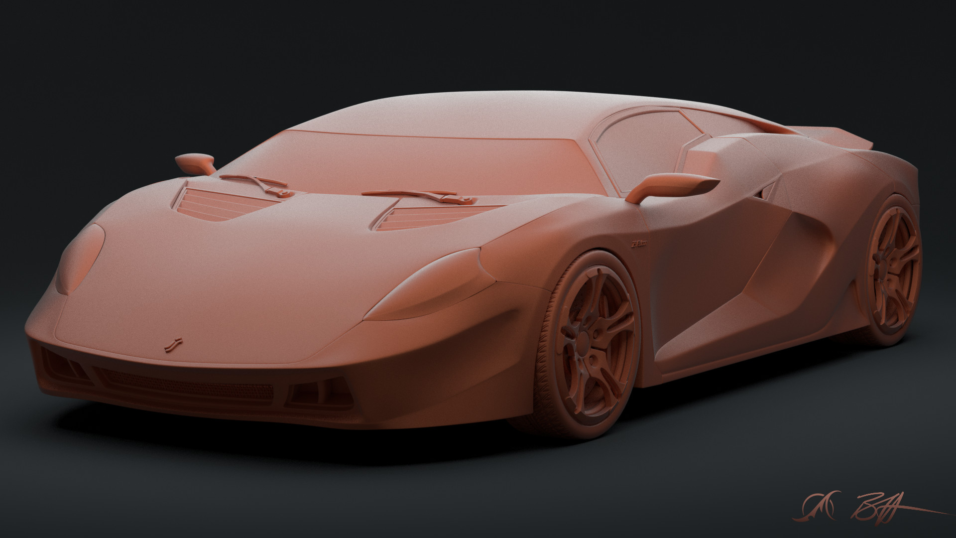 The finished model from BlendMasters Volume 1 rendered in a clay shader from BlendMasters Volume 2