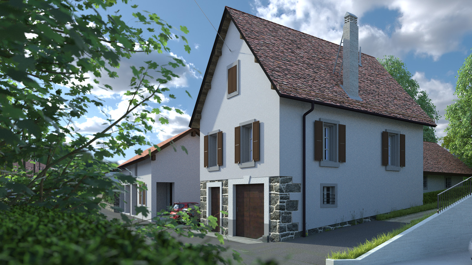 SketchUp + Thea Render  Little Swiss House Scene 28 162-hdri-skies 01 HD 1920 x 1080 Presto MC  HDR by HDRI-SKIES found here: http://hdri-skies.com/shop/hdri-sky-162/
