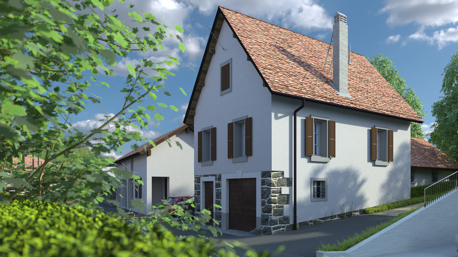 SketchUp + Thea Render  Little Swiss House Scene 28 162-hdri-skies 02 HD 1920 x 1080 Presto MC  HDR by HDRI-SKIES found here: http://hdri-skies.com/shop/hdri-sky-162/