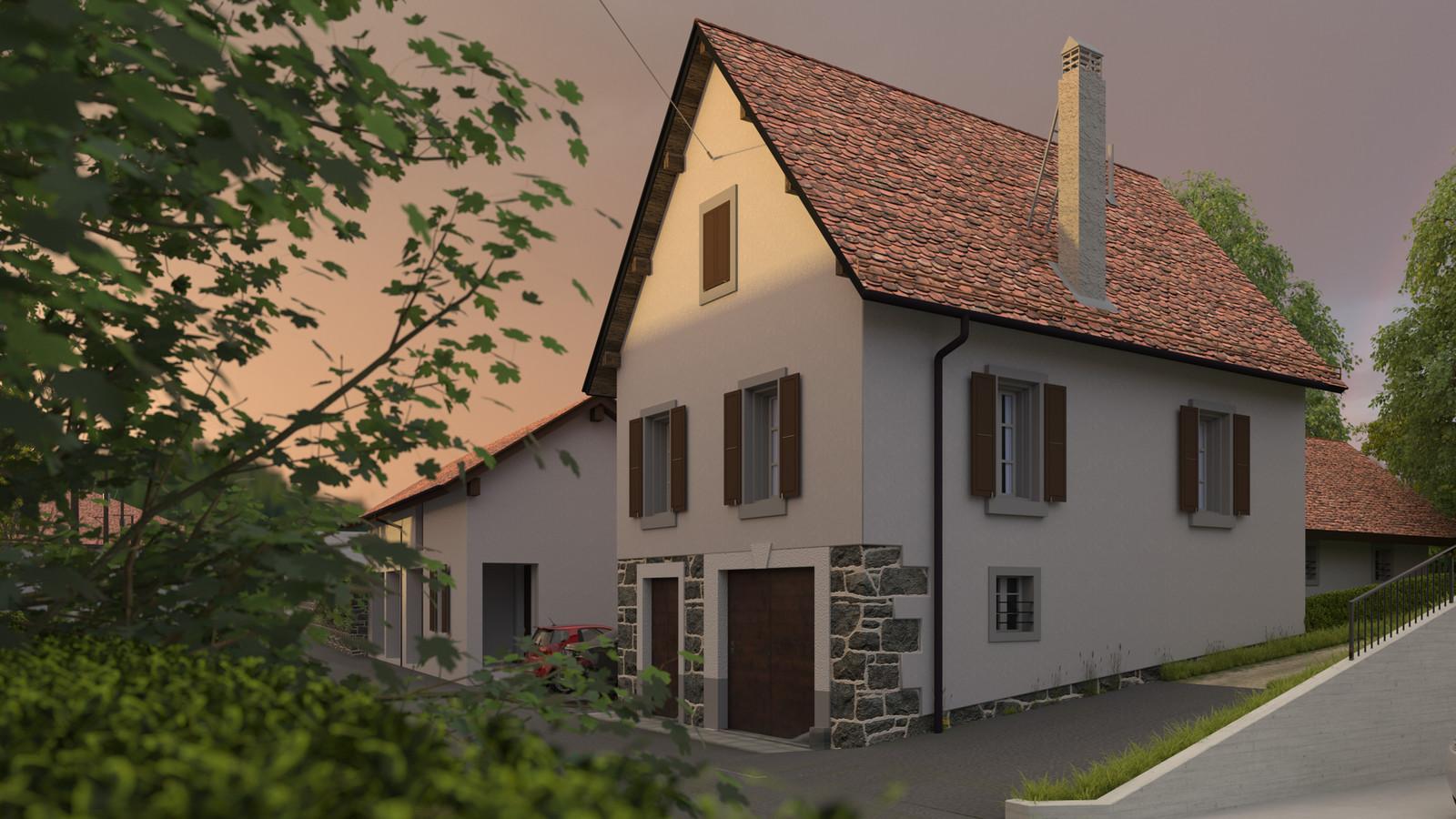 SketchUp + Thea Render  Little Swiss House Scene 28 250-hdri-skies 01 HD 1920 x 1080 Presto MC  HDR by HDRI-SKIES found here: http://hdri-skies.com/shop/hdri-sky-250/