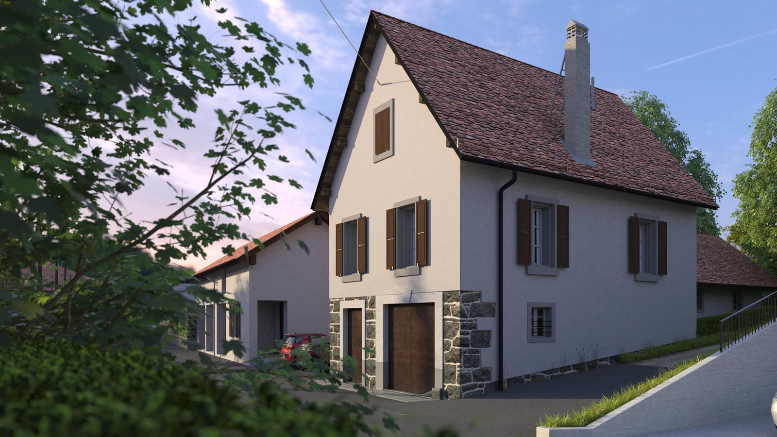 SketchUp + Thea Render  Little Swiss House Scene 28 0707 Dawn Sun 01 HD 1920 x 1080 Presto MC