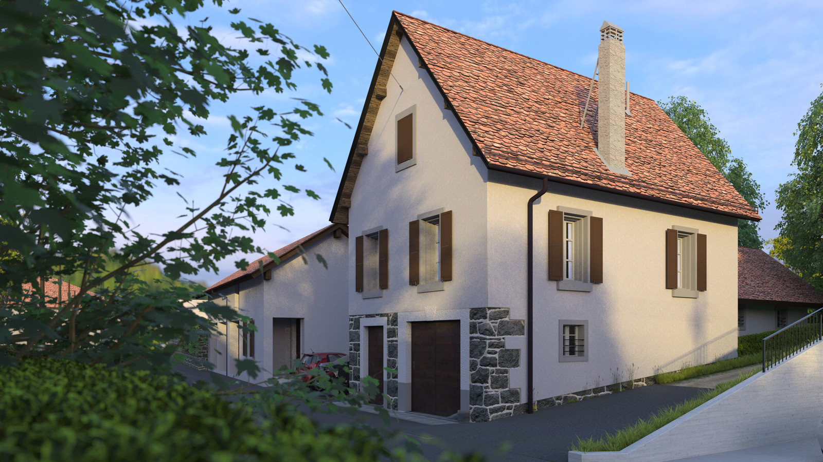 SketchUp + Thea Render  Little Swiss House Scene 28 0707 Dawn Sun 02 HD 1920 x 1080 Presto MC