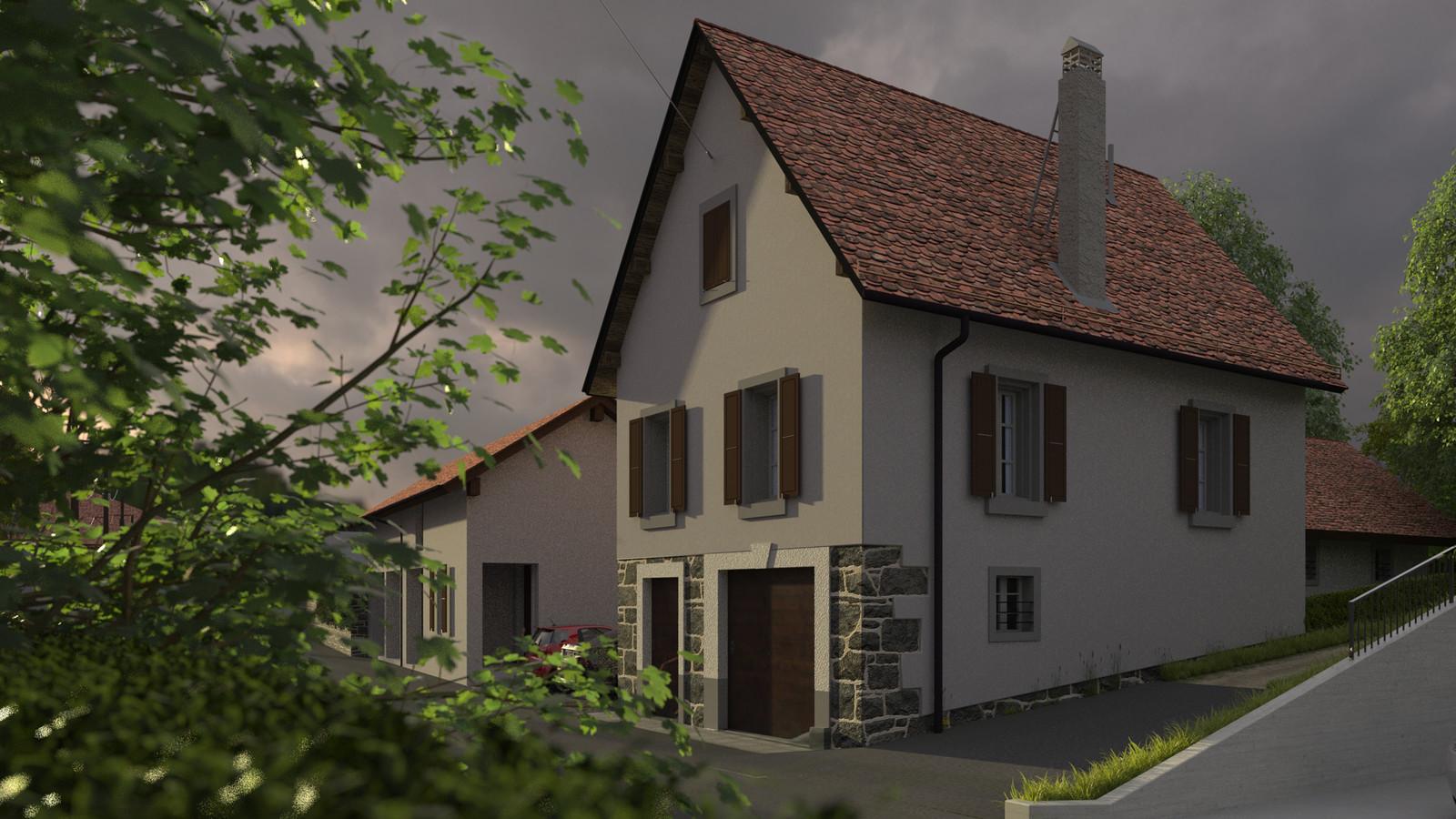 SketchUp + Thea Render  Little Swiss House Scene 28 0743 Cloudy Morning Sun 01 HD 1920 x 1080 Presto MC