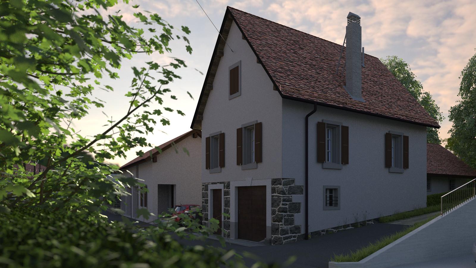 SketchUp + Thea Render  Little Swiss House Scene 28 0917 Dawn 01 HD 1920 x 1080 Presto MC