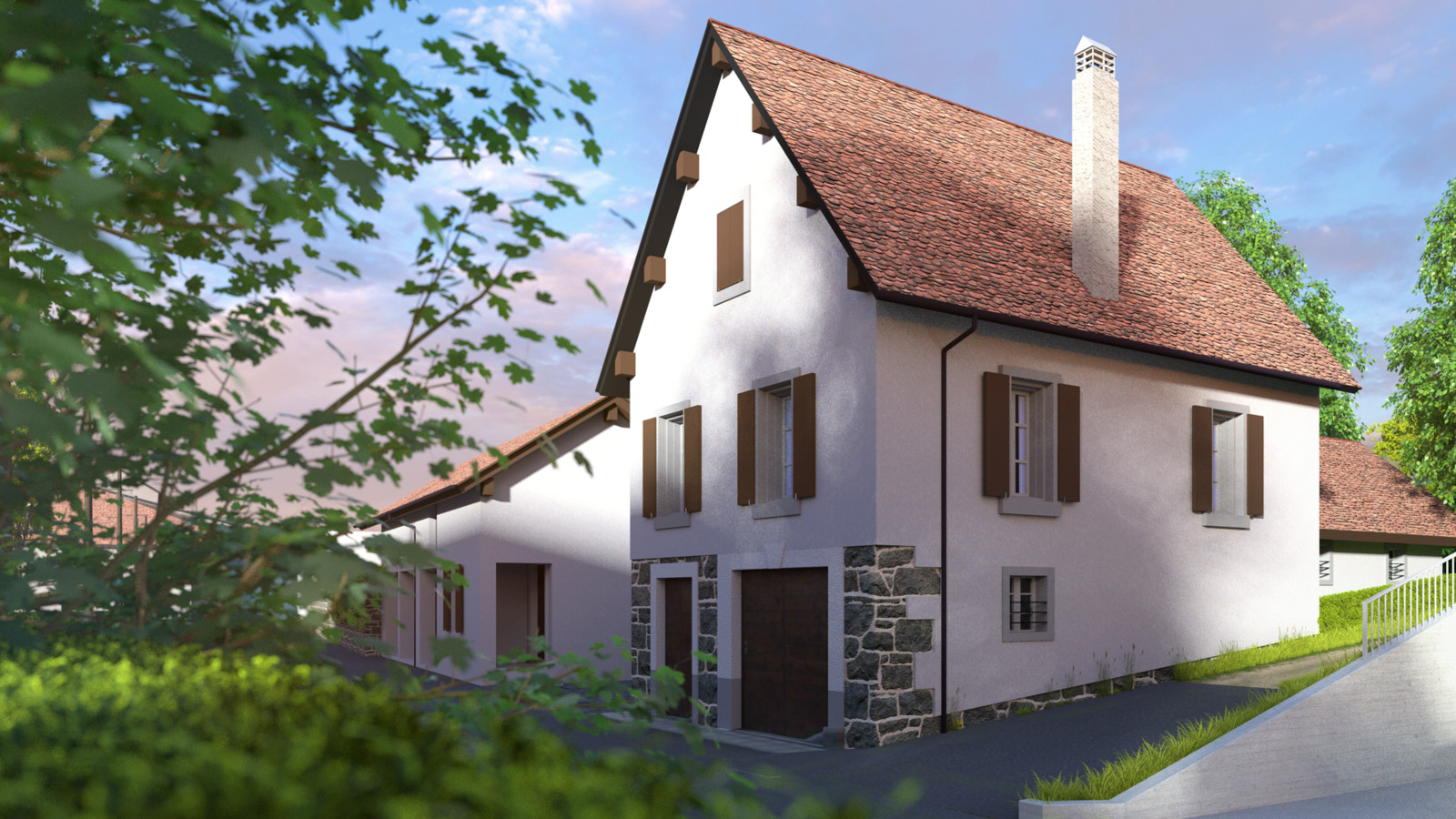 SketchUp + Thea Render  Little Swiss House 01a WIP test 01 Vullierens complete 02 SUv2016-Scene 28b Post combo HD 1920 x 1080 Presto MC