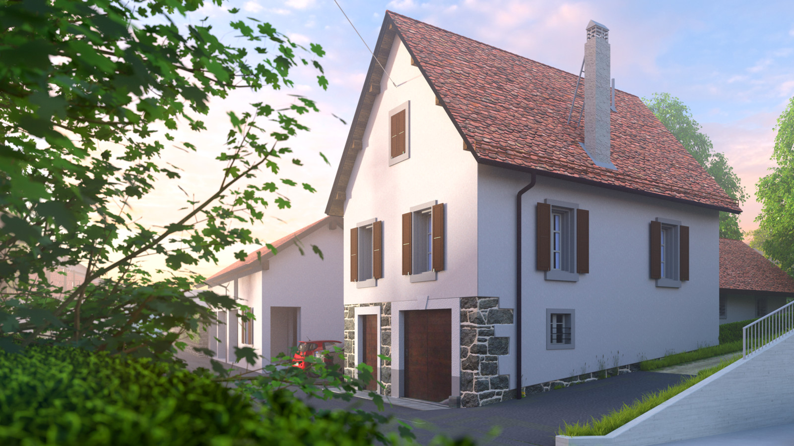 SketchUp + Thea Render  Little Swiss House à Vullierens (Day break) with rendered morning mist/fog  Vullierens complete 02 SUv2016-Scene 28A Rise