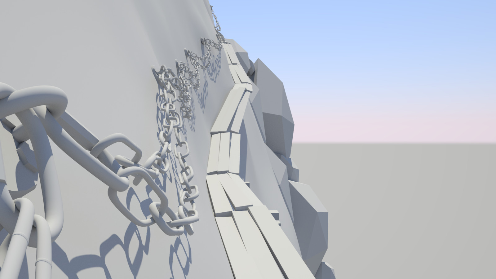 Roughing out the placement and basic lighting in Redshift.
