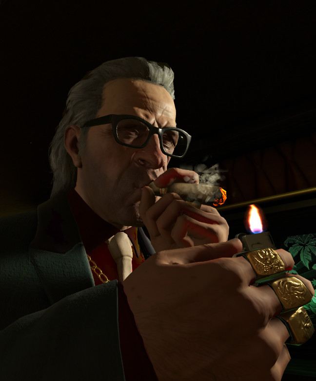 in game shot of Frank lighting up