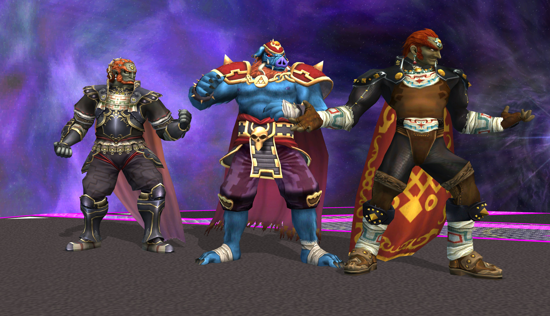 Pig Ganon standing with the two other Ganon's