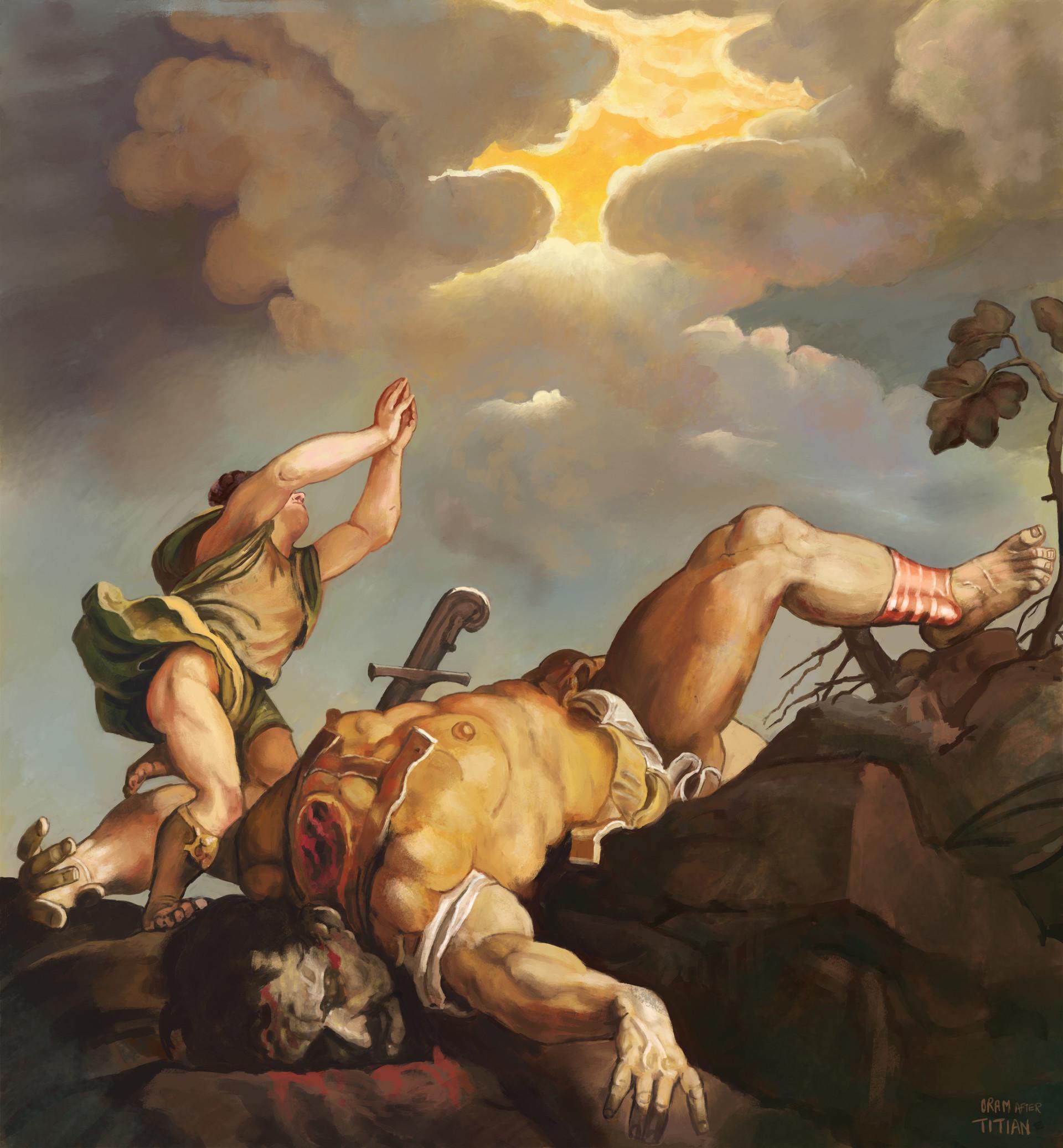 artstation david and goliath after titian luke oram