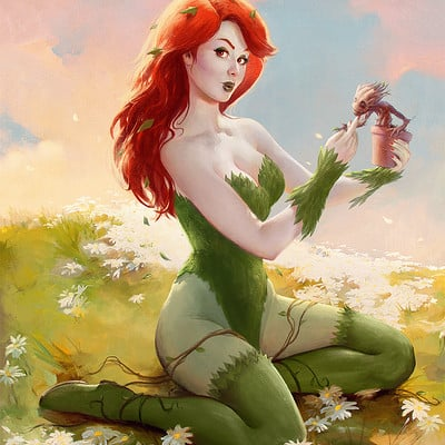 Poison Ivy & Baby Groot / Elvgren Tribute
