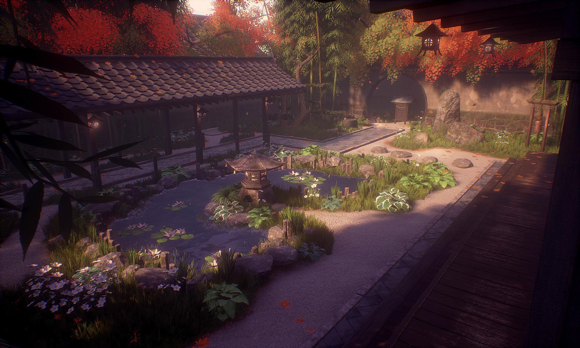 Japanese Garden At Night artstation - japanese garden environment [ue4], sophie holt