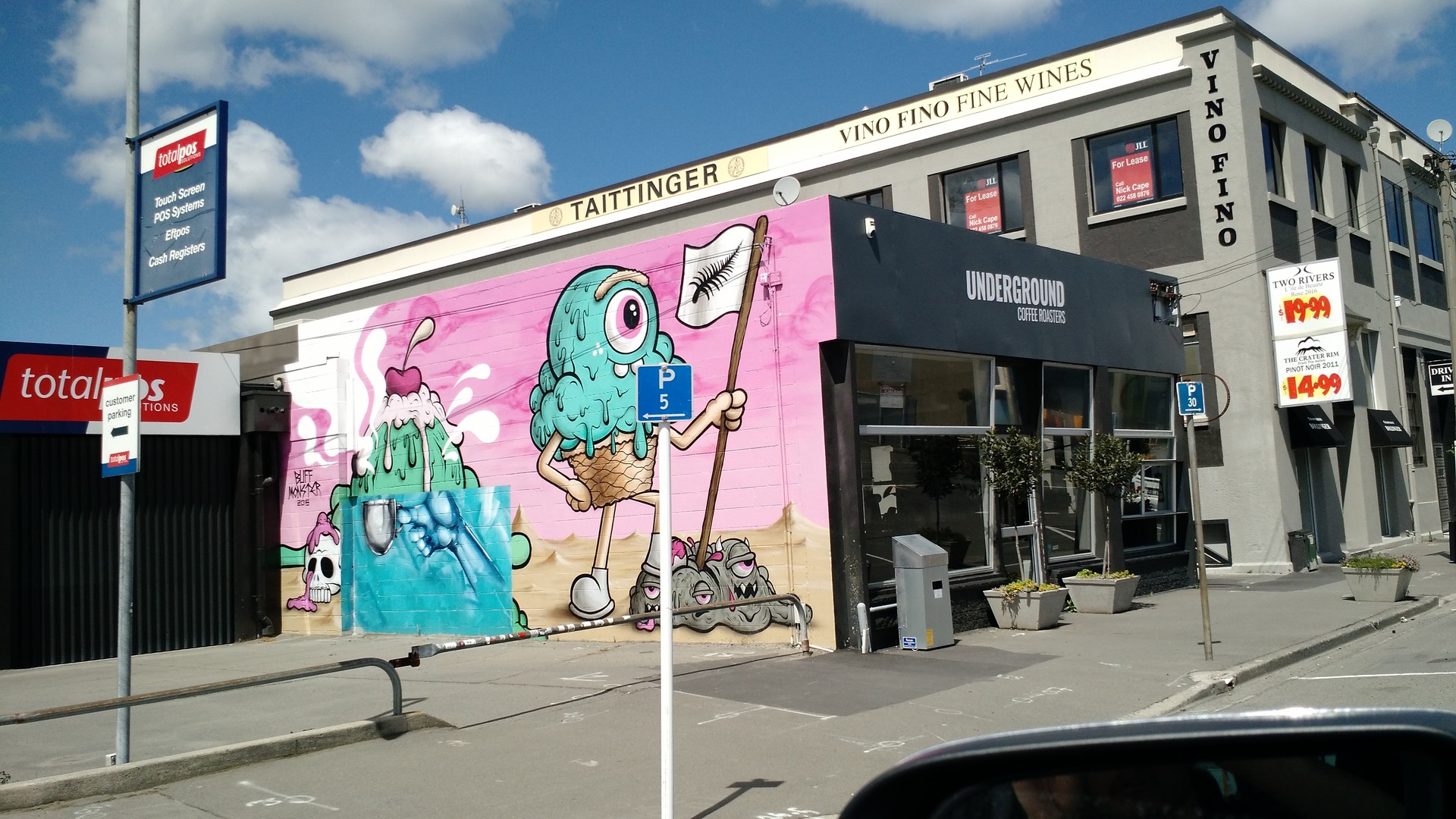 "(Its not the best pic, but it looks good) The original paint on Christchurch by ""Buff Monster"""