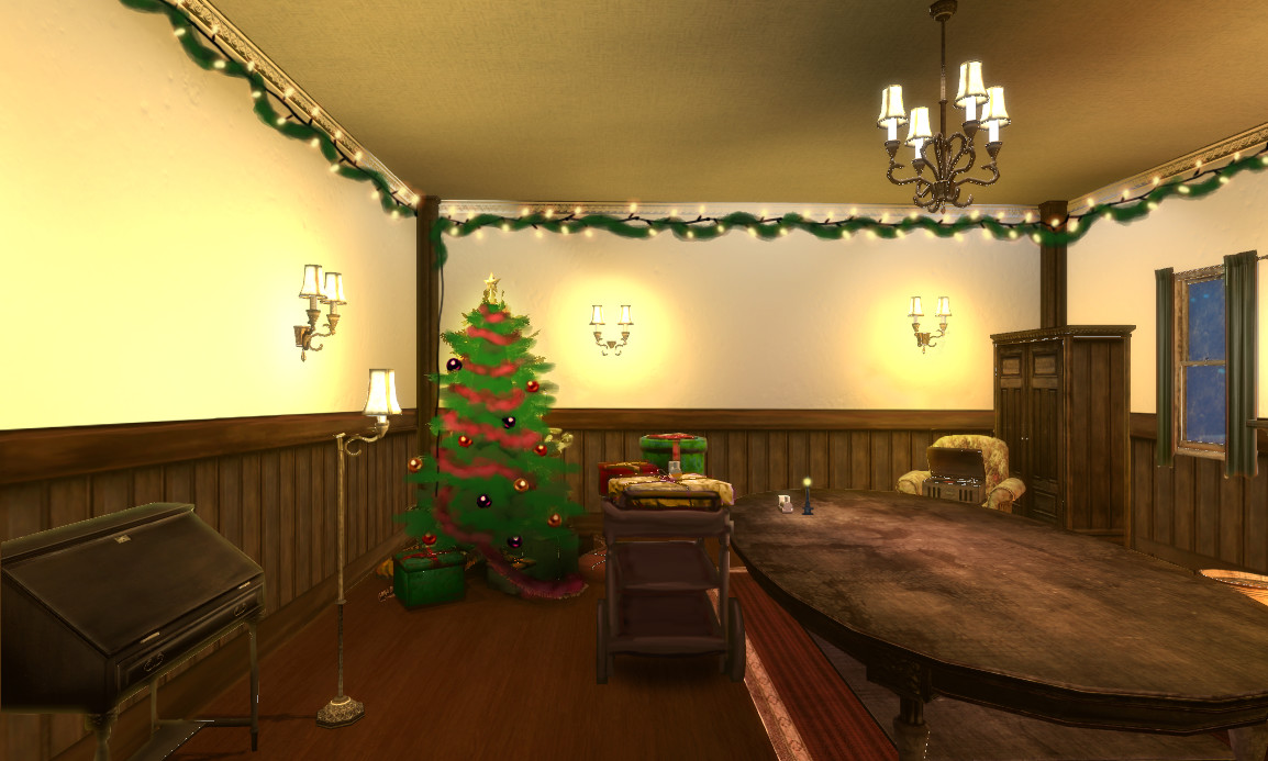 Paintover of Unity layout for possible game direction: vintage xmas.