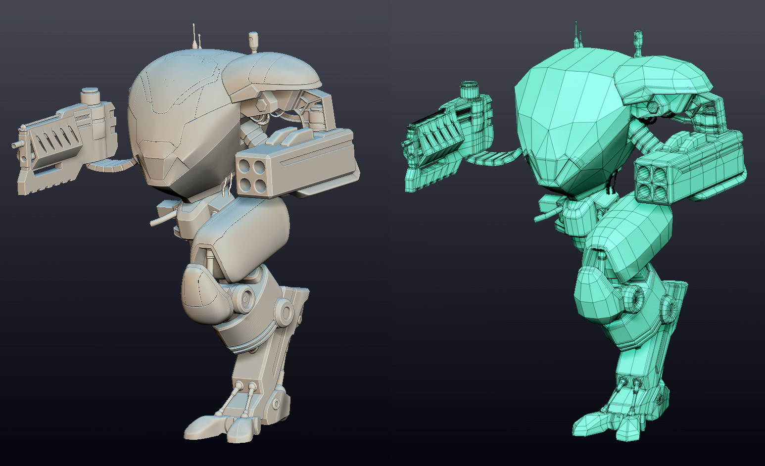 Zbrush high mesh for extra details/panels and the low zmodeler base mesh