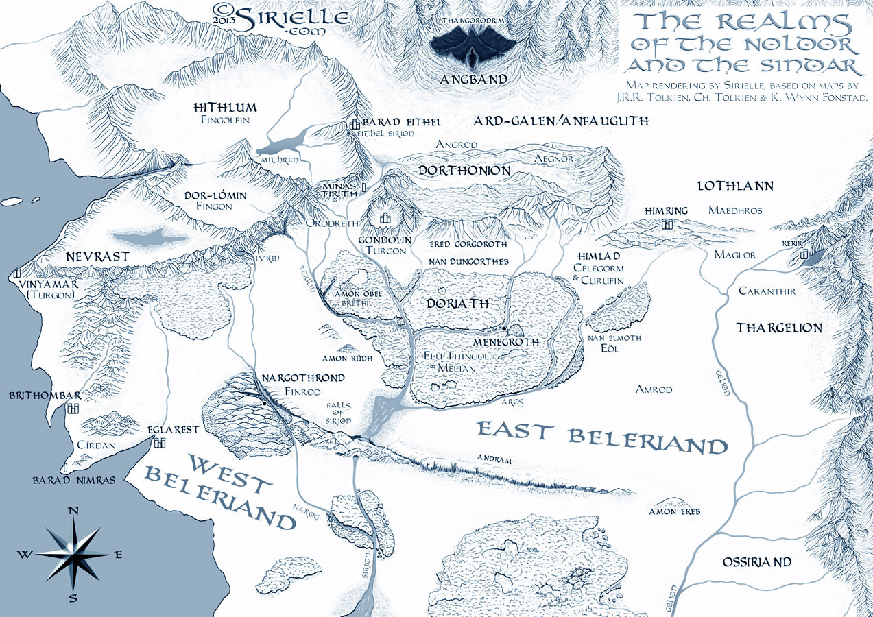The Realms of the Noldor and the Sindar in Beleriand in the beginning of the I Age of Sun and during the Siege of Angband.