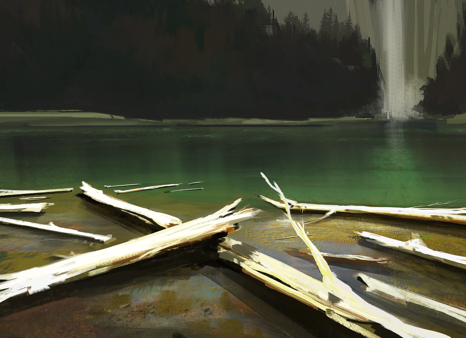 Logs and water - Sketch