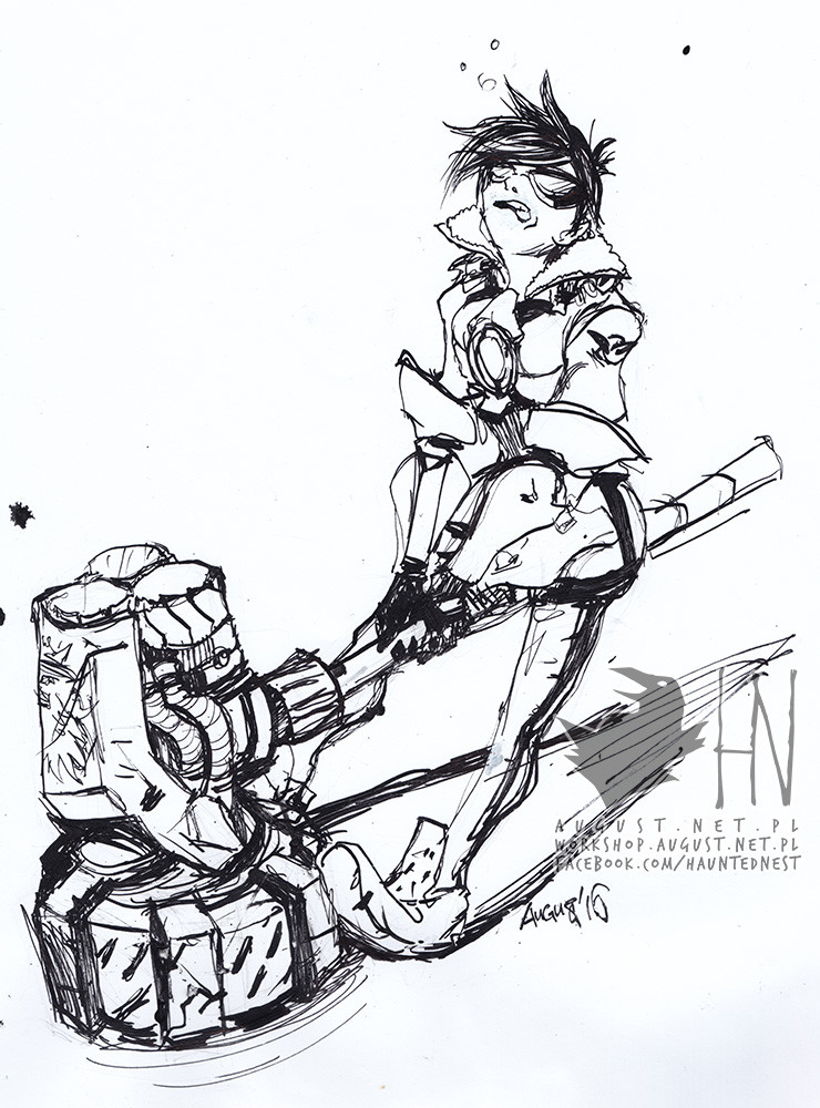 Day 7 - Tracer trying to lift Reinhardt's hammer. lol.