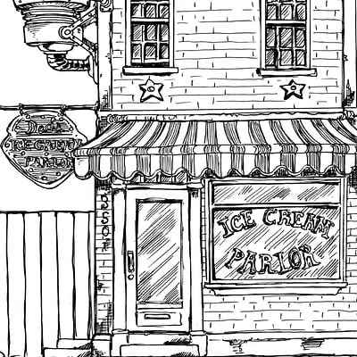 Steampunk  Ice Cream Parlor, Inktober 2016, 26