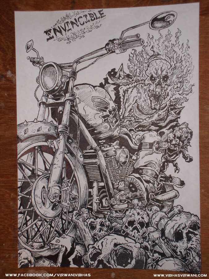 Vibhas virwani traditional inking on paper comic art by vibhas virwani 1