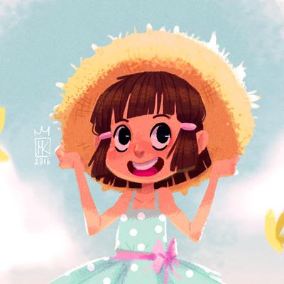 Maciej kachel dziewczynka w kapeluszu mini