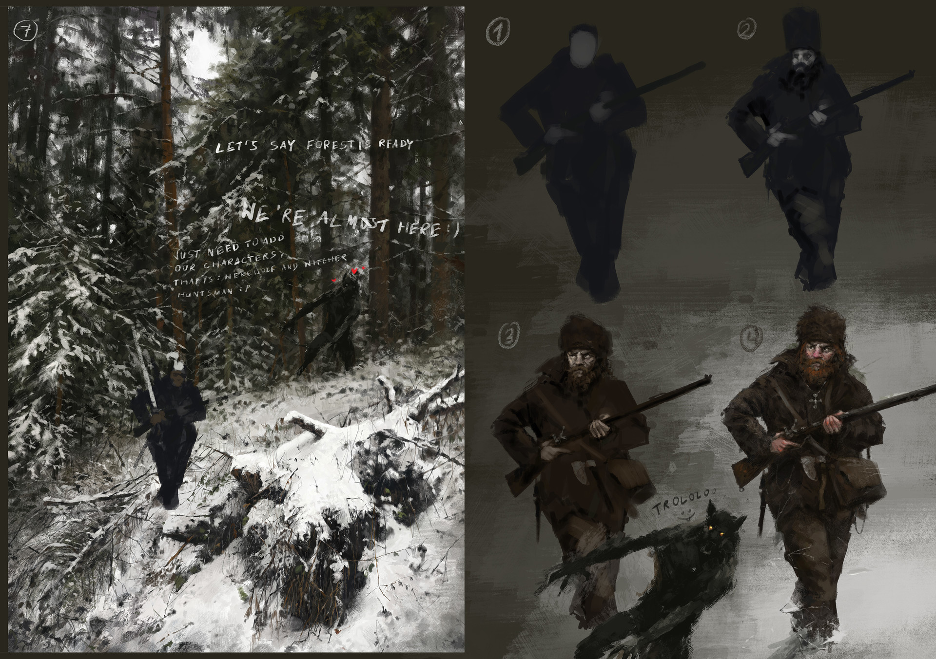 Jakub rozalski hunt or be hunted process04
