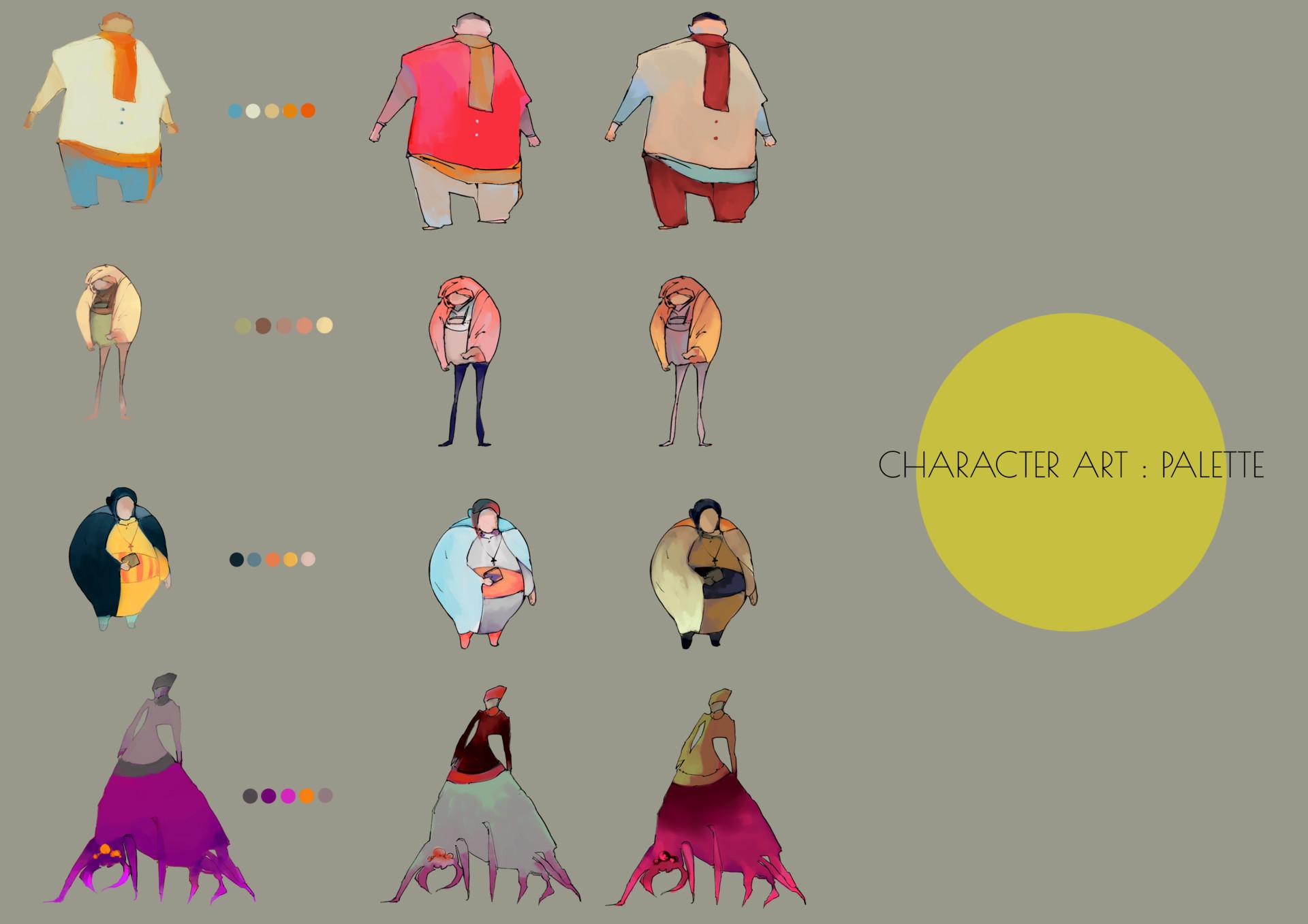 Character Design Colour Palette : Artstation visdev character color palette ninet liao