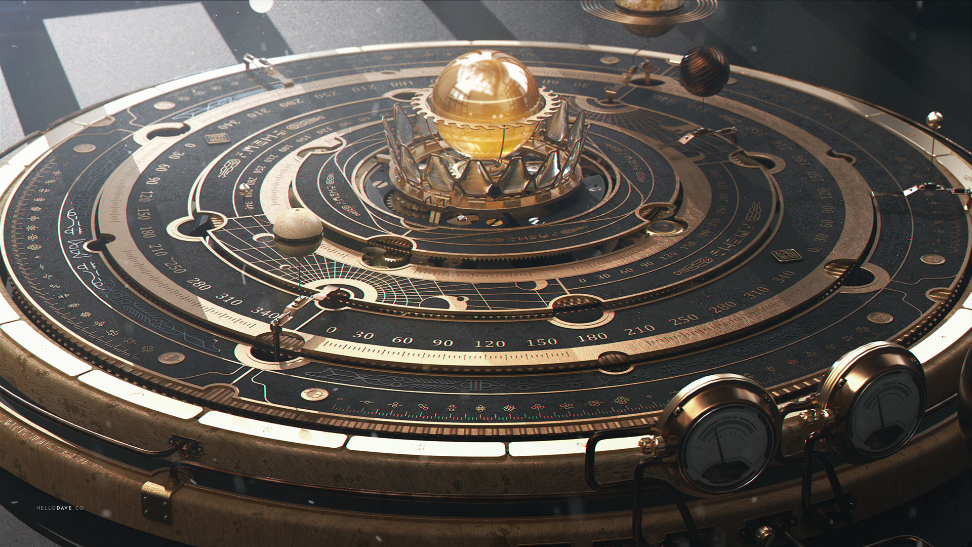 Artstation Steampunk Astrolabe Table With Ui Davison
