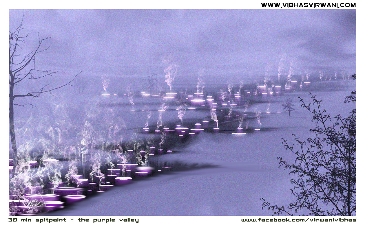 Vibhas virwani purple valley speed painting by vibhas virwani